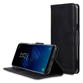 Melkco Premium Leather Case for Samsung Galaxy S8 Plus – Wallet Book Clear Type Stand ( Vintage Black )
