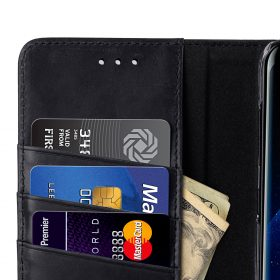 Melkco Premium Leather Case for Samsung Galaxy S8 – Wallet Book Clear Type Stand ( Vintage Black )