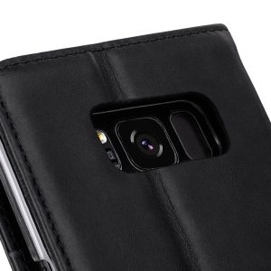 Melkco Premium Leather Case for Samsung Galaxy S8 Plus - Wallet Book Clear Type Stand ( Vintage Black )
