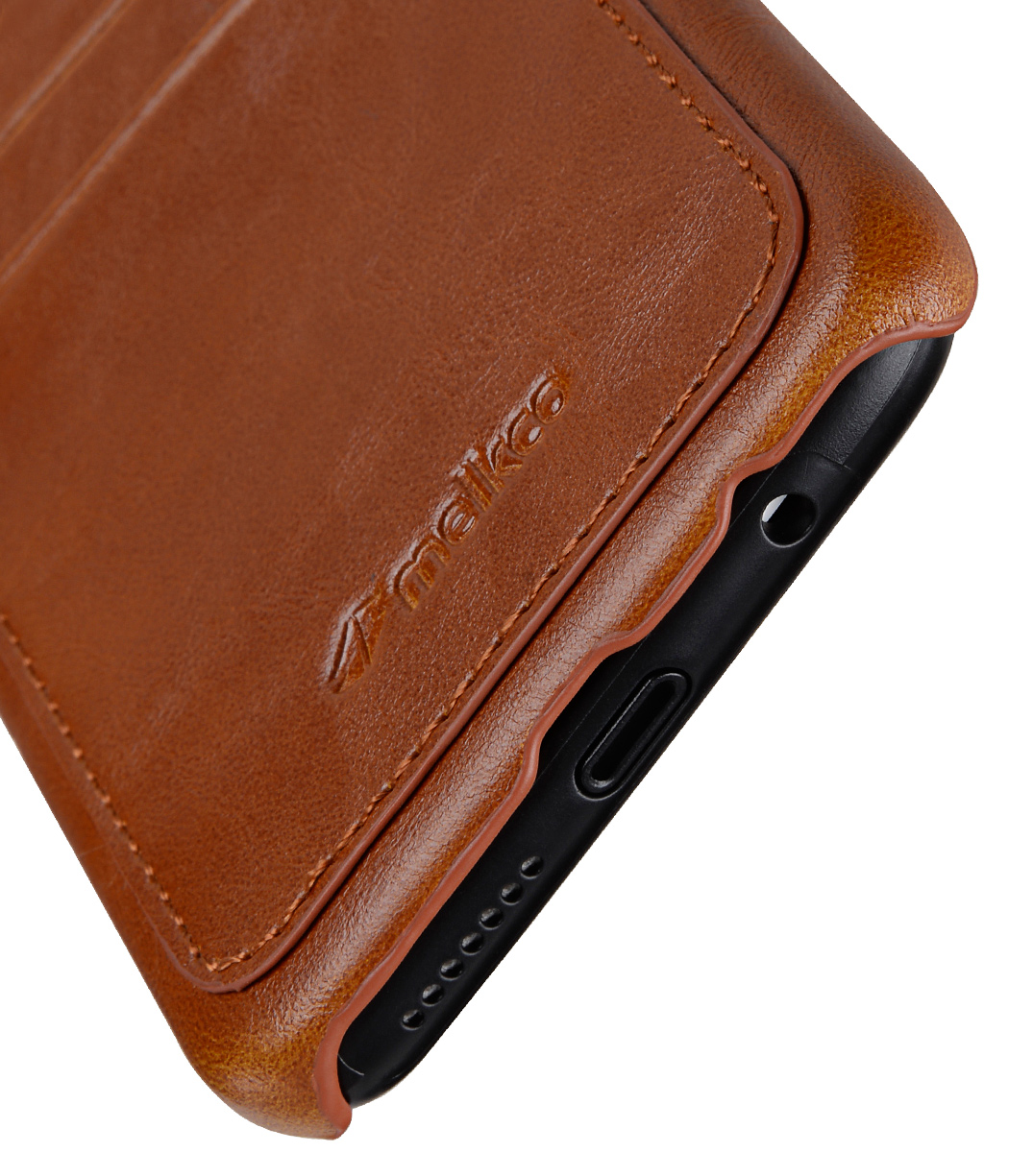 Melkco Back Snap Series PU Leather Dual Card Slots Case for Samsung Galaxy S8 Plus - ( Brown )