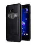 Premium Leather Card Slot Back Cover for HTC U11 - (Vintage Black)Ver.2