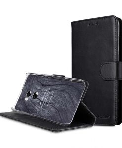 Premium Leather Case for HTC One X10 - Wallet Book Clear Type Stand (Vintage Black)