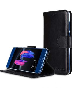 Premium Leather Case for Huawei Honor 9 - Wallet Book Clear Type Stand (Vintage Black CH)