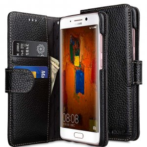 Premium Leather Case for Huawei Mate 9 Pro - Wallet Book Type (Black LC)Ver.7