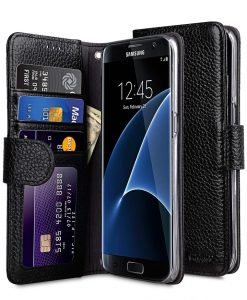 Premium Leather Case for Samsung Galaxy S7 Edge - Wallet Book ID Slot Type (Black LC)
