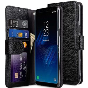 Premium Leather Case for Samsung Galaxy S8 Plus - Wallet Book ID Slot Type (Black LC)