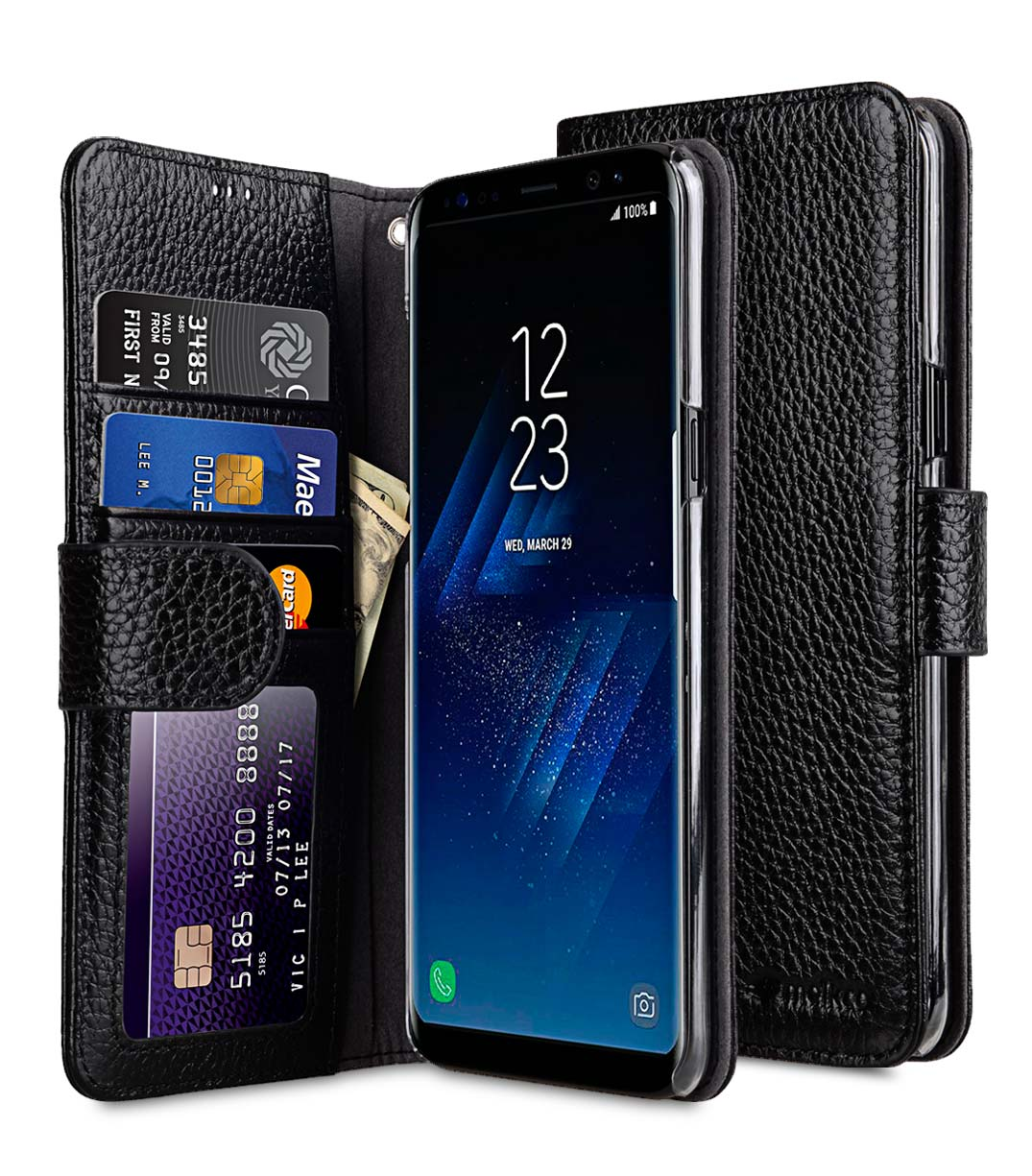 half off 50fb5 bb769 Premium Leather Case for Samsung Galaxy S8 - Wallet Book ID Slot Type  (Black LC)