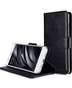 Premium Leather Case for Xiaomi Mi 6 - Wallet Book Clear Type Stand (Vintage Black CH)