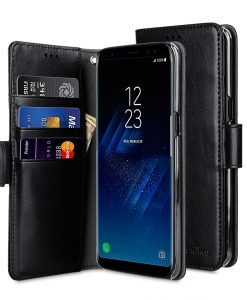Melkco Mini PU Cases Wallet Book Clear Type for SAMSUNG GALAXY S8 Plus- Black PU