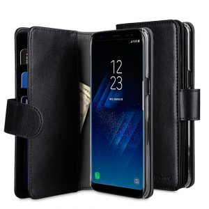 PU Leather Wallet Plus Book Type Case for Samsung Galaxy S8 - Black PU
