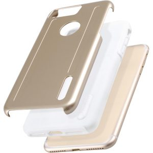 """Kubalt double Layer Case for Apple iPhone 7 / 8 Plus (5.5"""") - Gold / White"""