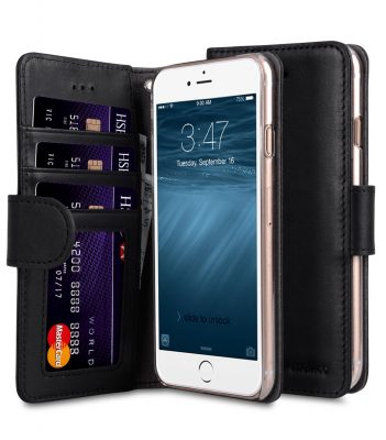 "Melkco Premium Leather Case for Apple iPhone 7 / 8 Plus (5.5"") - Wallet Book ID Slot Type (Vintage Black)"