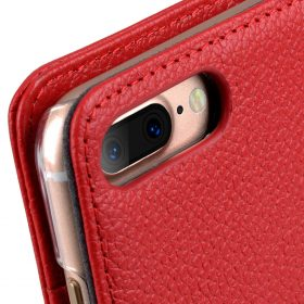 """Melkco Premium Leather Case for Apple iPhone 7 / 8 Plus (5.5"""") – Wallet Book ID Slot Type (Red LC)"""