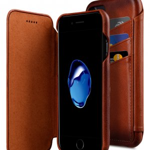 "Melkco Premium Leather Case for Apple iPhone 7 / 8 (4.7"")- Face Cover Back Slot (Tan)"