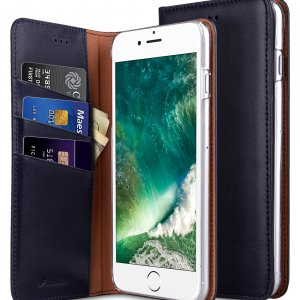 """Melkco Premium Cowhide Leather Herman Series Book Style Case for Apple iPhone 7 / 8 Plus (5.5"""") (Blue)"""