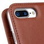 "Melkco Premium Cowhide Leather Herman Series Book Style Case for Apple iPhone 7 / 8 Plus (5.5"") (Orange Brown)"