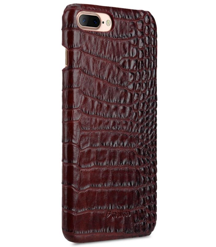 "Melkco Mini PU Leather Snap Cover for Apple iPhone 7 / 8 Plus (5.5"") (Dark Red Crocodile Pattern PU)"