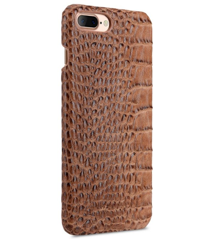 "Melkco Mini PU Leather Snap Cover for Apple iPhone 7 / 8 Plus (5.5"") (Light Brown Crocodile Pattern PU)"