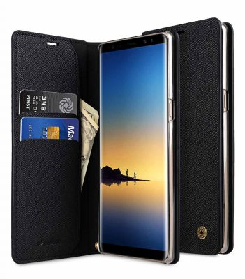 Melkco Fashion Cocktail Series Cross Pattern Premium Leather Slim Flip Type Case for Samsung Galaxy Note 8 - ( Black CP )