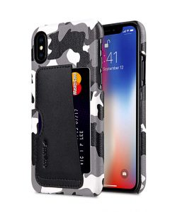 Melkco Fashion European Series Camouflage Collection Camouflage PU Leather Card Slot Snap Cover Case for Apple iPhone X - ( Black CM )