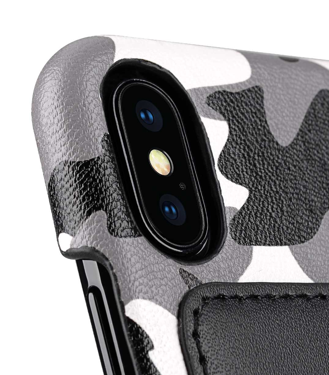 finest selection 473ca 78b6c Fashion European Series Camouflage Collection Camouflage PU Leather Card  Slot Snap Cover Case for Apple iPhone X / XS - (Black CM)
