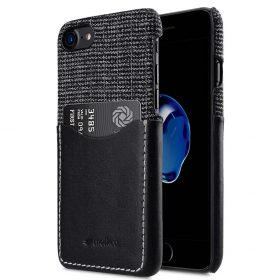 """Melkco Holmes Series Fine Grid Genuine Leather Snap Cover with Card slot Case for Apple iPhone 7/ 8 (4.7"""") – (Black)"""
