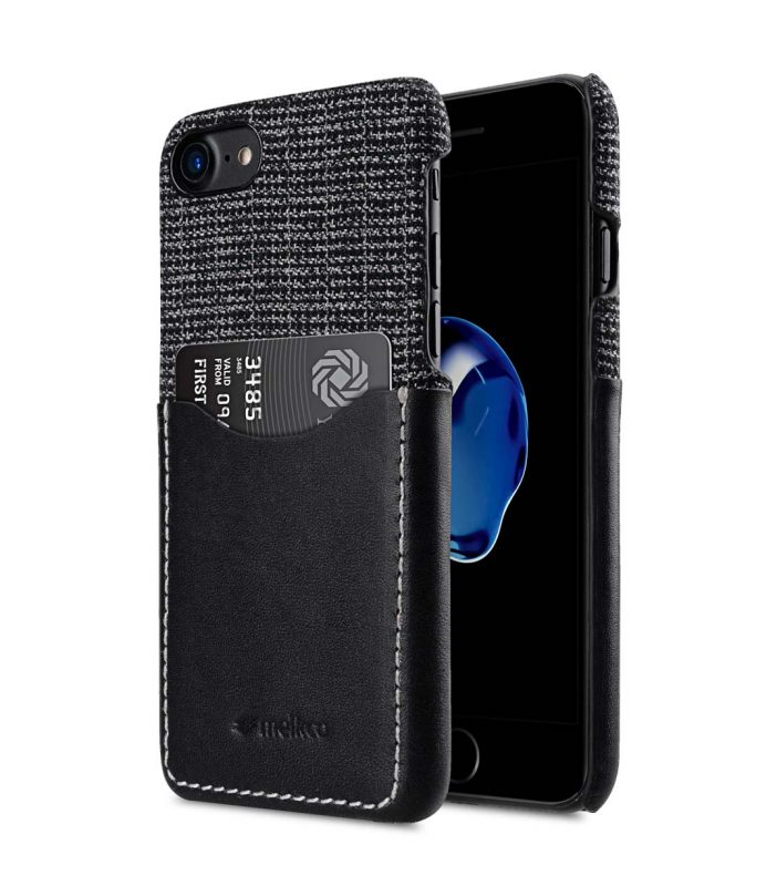 """Melkco Holmes Series Fine Grid Genuine Leather Snap Cover with Card slot Case for Apple iPhone 7/ 8 (4.7"""") - (Black)"""