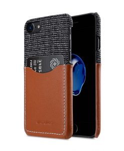 "Holmes Series Fine Grid Genuine Leather Snap Cover with Card slot Case for Apple iPhone 7 / 8 (4.7"")"