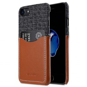 """Melkco Holmes Series Fine Grid Genuine Leather Snap Cover with Card slot Case for Apple iPhone 7/ 8 (4.7"""") – (Brown)"""