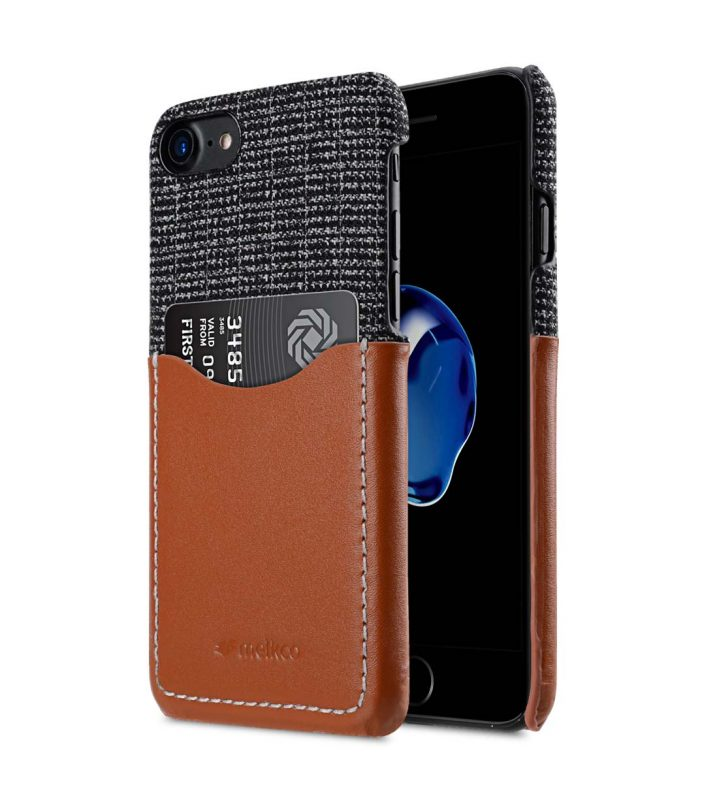 """Melkco Holmes Series Fine Grid Genuine Leather Snap Cover with Card slot Case for Apple iPhone 7/ 8 (4.7"""") - (Brown)"""