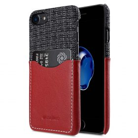 """Melkco Holmes Series Fine Grid Genuine Leather Snap Cover with Card slot Case for Apple iPhone 7/ 8 (4.7"""") – (Red)"""