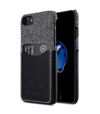 """Melkco Holmes Series Venis Genuine Leather Snap Cover with Card slot Case for Apple iPhone 7/ 8(4.7"""") - (Black)"""
