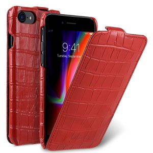 """Melkco Premium Leather Case for Apple iPhone 7 / 8 (4.7"""") - Jacka Type (Red CR)"""