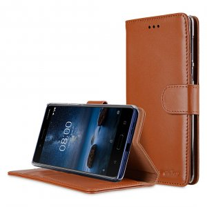 Premium Leather Case for Nokia 8 - Wallet Book Clear Type Stand