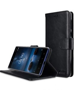 Melkco Premium Leather Case for Nokia 8 - Wallet Book Clear Type Stand (Vintage Black)