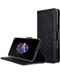 Melkco Premium Leather Case for OnePlus 5 - Wallet Book Clear Type Stand (Vintage Black)