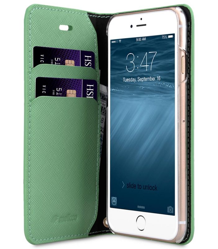 Melkco Fashion Cocktail Series slim Filp Case for Apple iPhone 7 / 8 (4.7') - (Light Green Cross pattern)