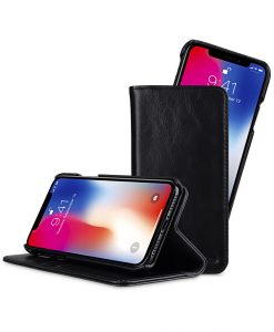 Melkco Alphard Series Waxfall Pattern Premium Leather Livia Book Type Case for Apple iPhone X - (Black WF)