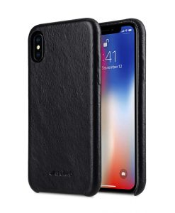 Melkco Elite Series Waxfall Pattern Premium Leather Coaming Snap Cover Case for Apple iPhone X - (Black WF)