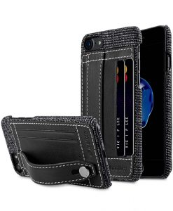 "Melkco Holmes Series Fine Grid Genuine Leather Dual Card slot with stand Case for Apple iPhone 7 / 8 (4.7"") - (Black)"