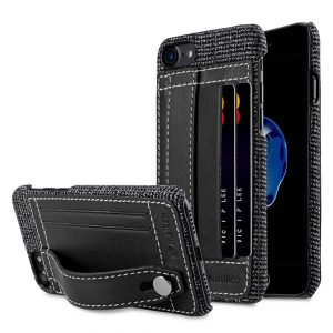 """Melkco Holmes Series Fine Grid Genuine Leather Dual Card slot with stand Case for Apple iPhone 7 / 8 (4.7"""") - (Black)"""