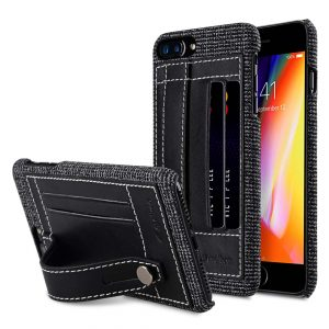 """Holmes Series Fine Grid Genuine Leather Dual Card slot with stand Case for Apple iPhone 7 / 8 Plus (5.5"""")"""