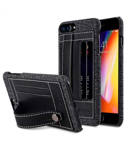 "Holmes Series Fine Grid Genuine Leather Dual Card slot with stand Case for Apple iPhone 7 / 8 Plus (5.5"")"
