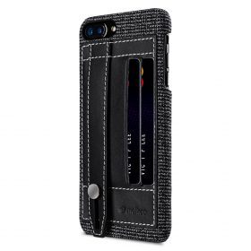 "Melkco Holmes Series Fine Grid Genuine Leather Dual Card slot with stand Case for Apple iPhone 7 / 8 Plus (5.5"") – (Black)"