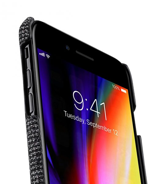 """Melkco Holmes Series Fine Grid Genuine Leather Dual Card slot with stand Case for Apple iPhone 7 / 8 Plus (5.5"""") - (Black)"""