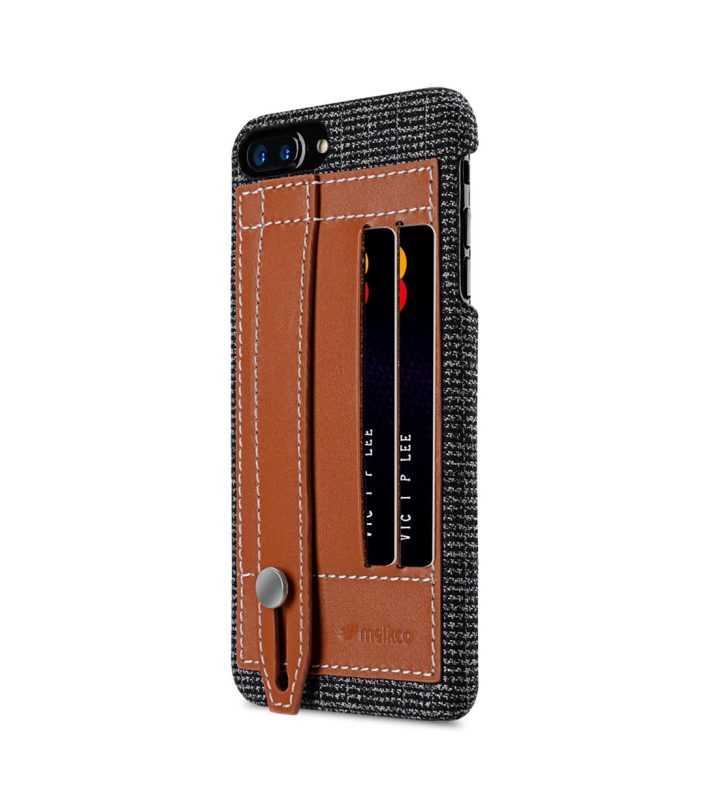 "Melkco Holmes Series Fine Grid Genuine Leather Dual Card slot with stand Case for Apple iPhone 7 / 8 Plus (5.5"") - (Brown)"