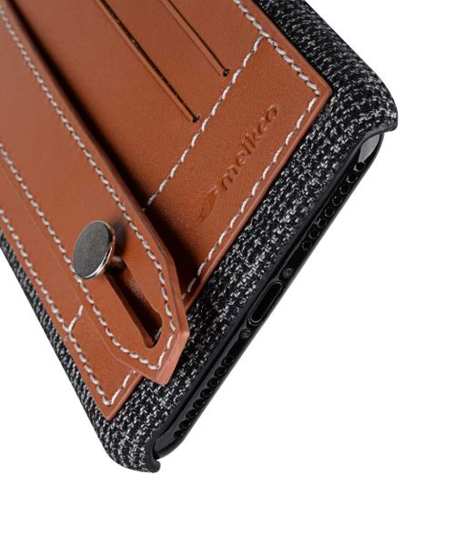 """Melkco Holmes Series Fine Grid Genuine Leather Dual Card slot with stand Case for Apple iPhone 7 / 8 Plus (5.5"""") - (Brown)"""