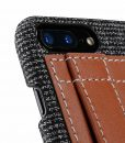 """Melkco Holmes Series Fine Grid Genuine Leather Dual Card slot with stand Case for Apple iPhone 7 / 8 Plus (5.5"""") – (Brown)"""