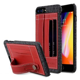 "Melkco Holmes Series Fine Grid Genuine Leather Dual Card slot with stand Case for Apple iPhone 7 / 8 Plus (5.5"") – (Red)"