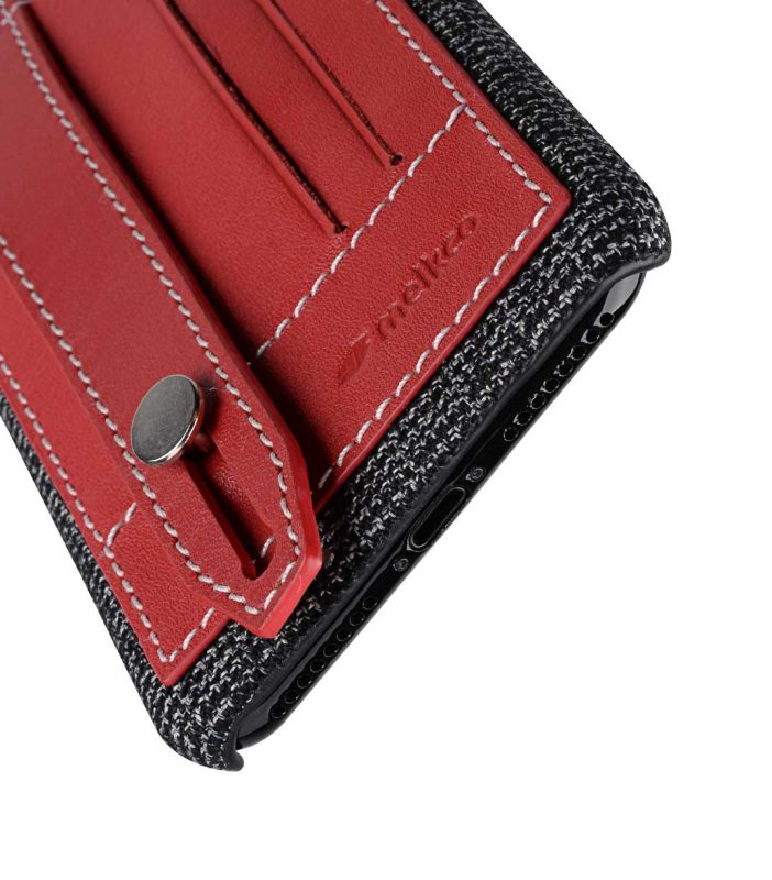 "Melkco Holmes Series Fine Grid Genuine Leather Dual Card slot with stand Case for Apple iPhone 7 / 8 Plus (5.5"") - (Red)"